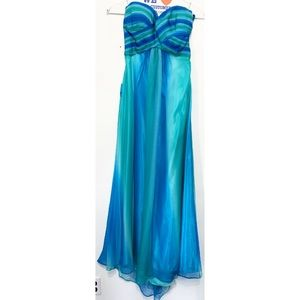 Blue and Teal Green Long Cocktail Prom Dress